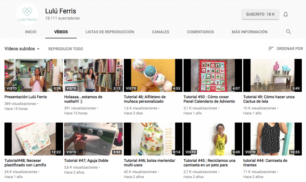 tutoriales de costura en youtube lulú ferris