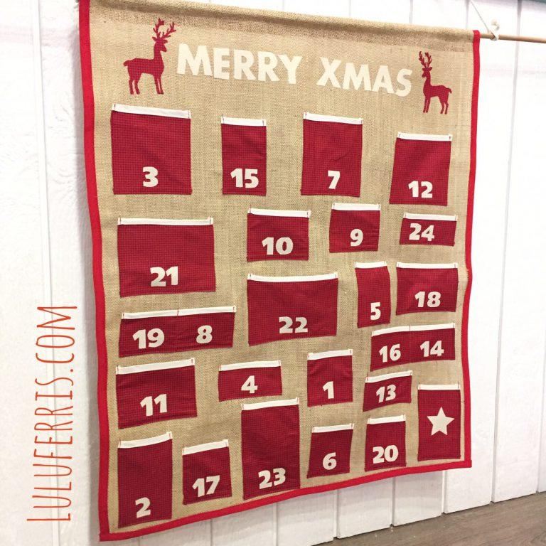 Calendario de Adviento fácil con tela de saco
