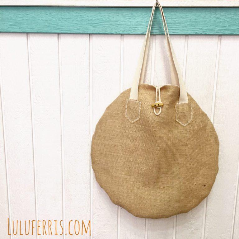Maxibolso de verano redondo con tela de saco