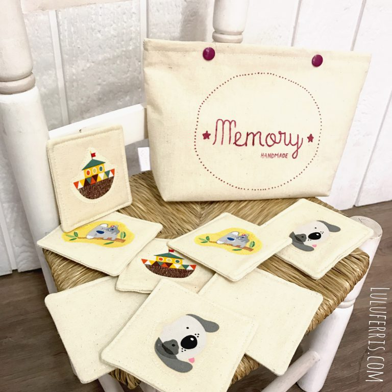 Juego Memory handmade (parejas) con bolsa de tela
