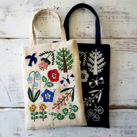 ideas para bordar bolsos