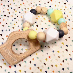 mordedor para bebé silicona madera
