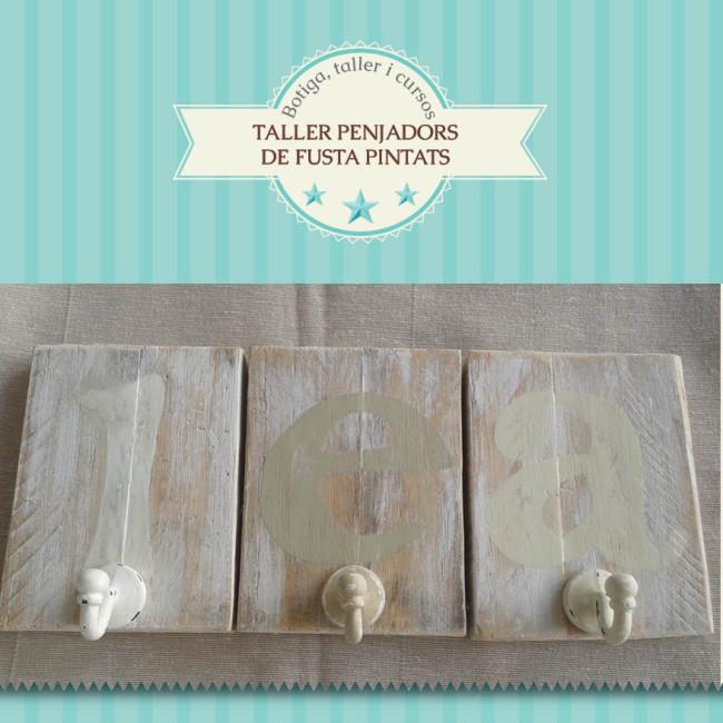 Colgadores de madera pintados 08 03 tienda talleres y for Colgadores de madera