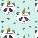 telas con diseño nórdico pandas