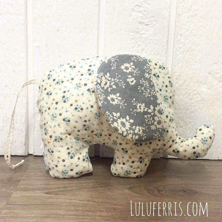 Peluche sensorial con forma de elefante